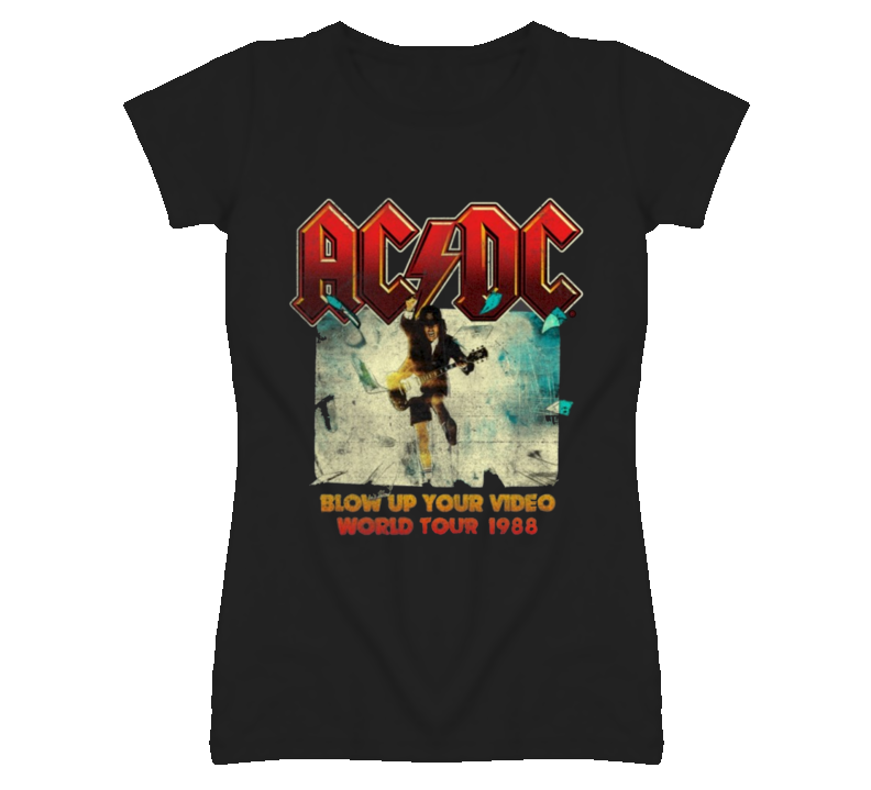 Demi Lovato Toronto WE Day AC/DC Blow Up Your Video Faded Look Black T Shirt