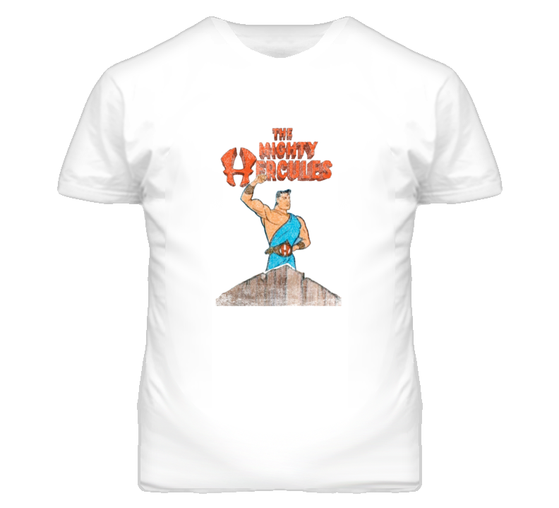 The Mighty Hercules Retro Cartoon Distressed Look White T Shirt