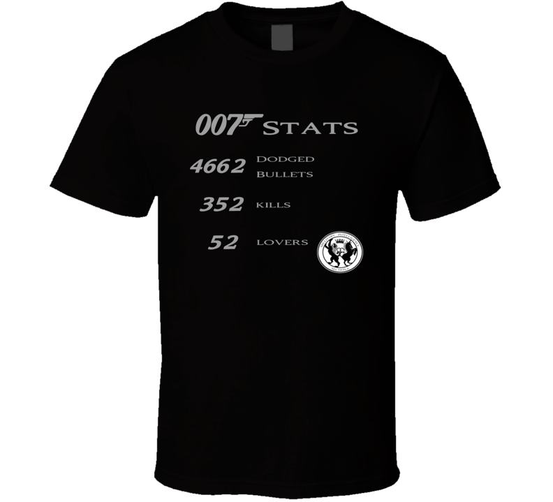 James Bond 007 Funny Stats Skyfall T Shirt