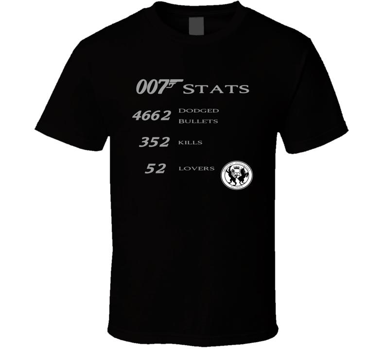 James Bond 007 Funny Stats Skyfall T Shirt