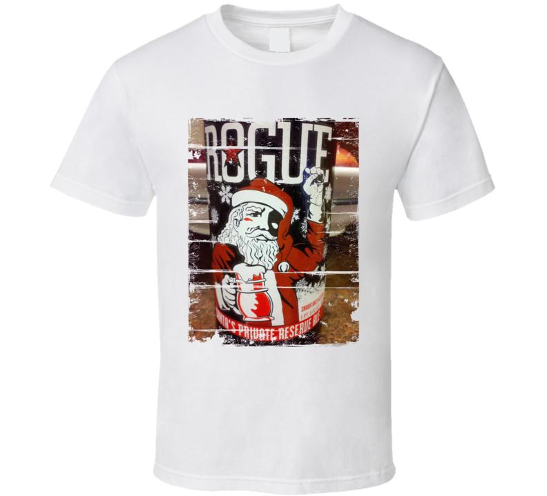 Rogue Santas Private Reserve Ale Label Distressed Image T Shirt