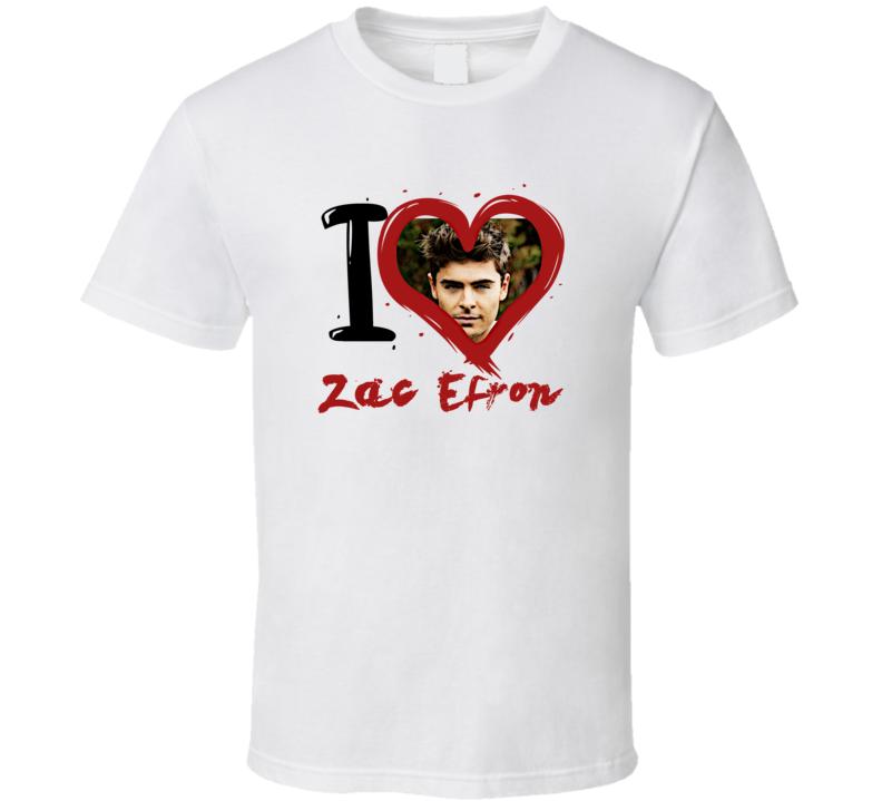 Zac Efron I Heart Fan T Shirt