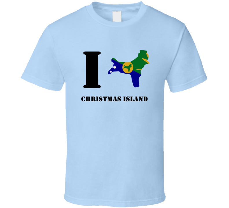 I Heart Love Christmas Island Flag Country Flag Distressed T Shirt