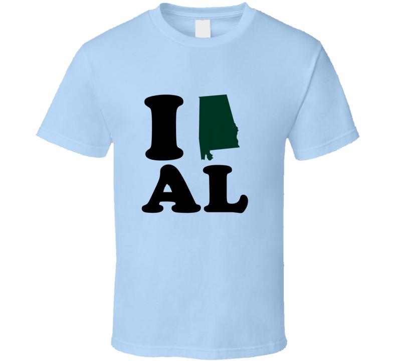 I Heart Love AL State Flag T Shirt