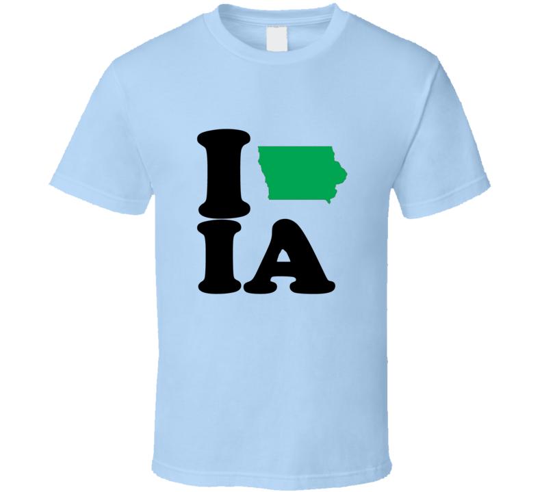 I Heart Love IA State Flag T Shirt