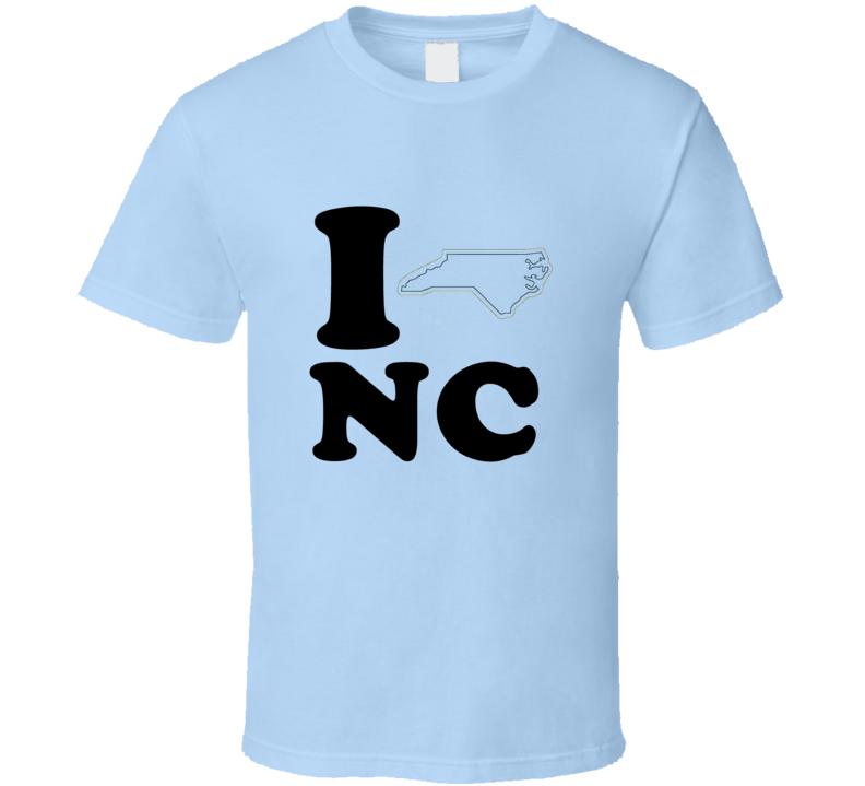 I Heart Love NC State Flag T Shirt