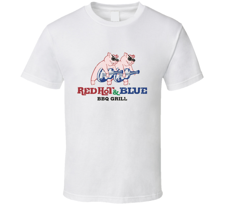 Red Hot and Blue Fast Food Restaurant Distressed Look T Shirt
