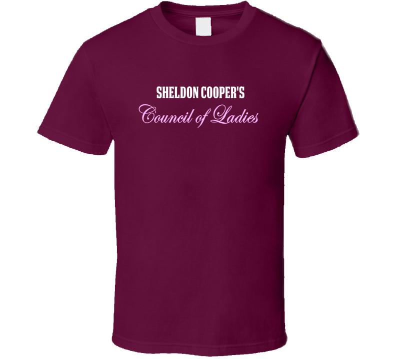 Sheldon Cooper's Council Of Ladies Big Bang Theory Dark T Shirt