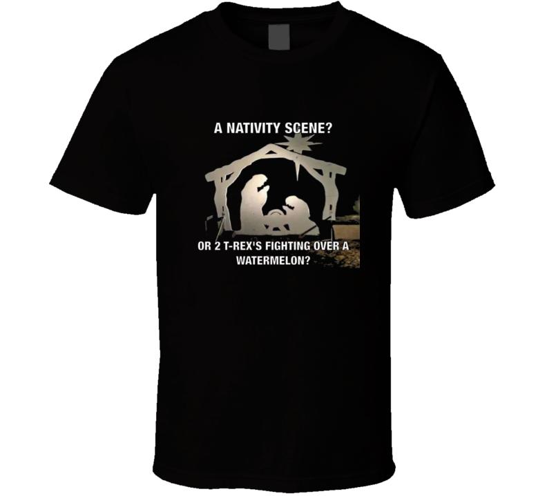 Nativity Scene T Rex Funny Christmas T Shirt
