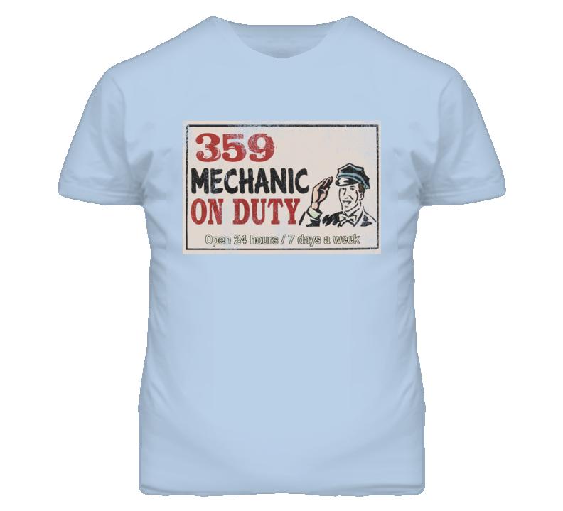 Peterbilt 359 Mechanic On Duty Garage Sign Vintage Distressed Look Truck T Shirt