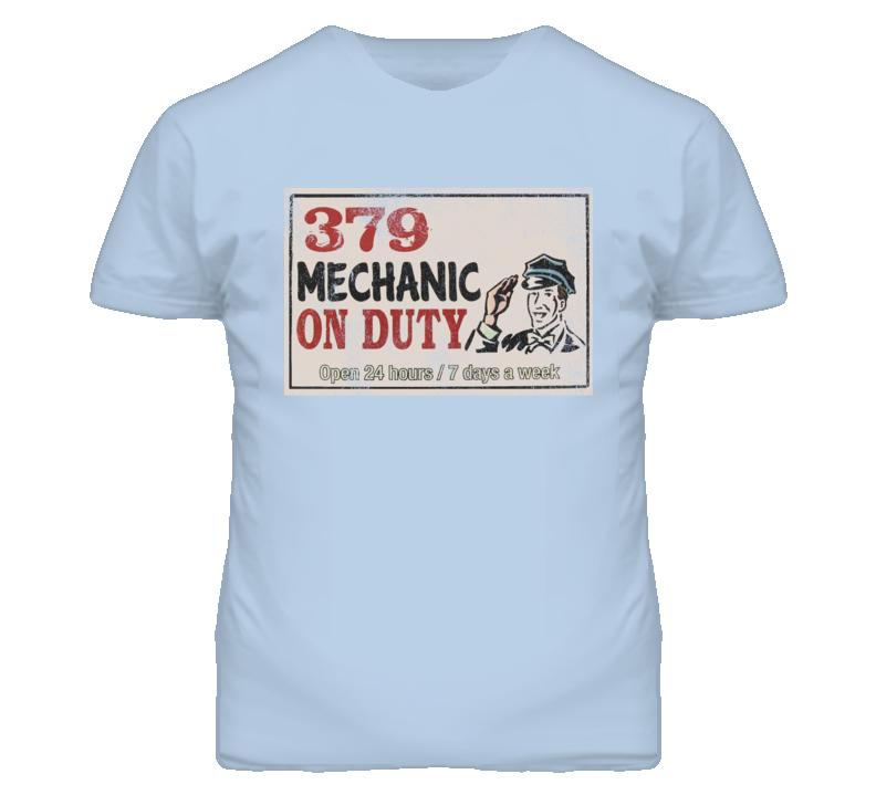 Peterbilt 379 Mechanic On Duty Garage Sign Vintage Distressed Look Truck T Shirt