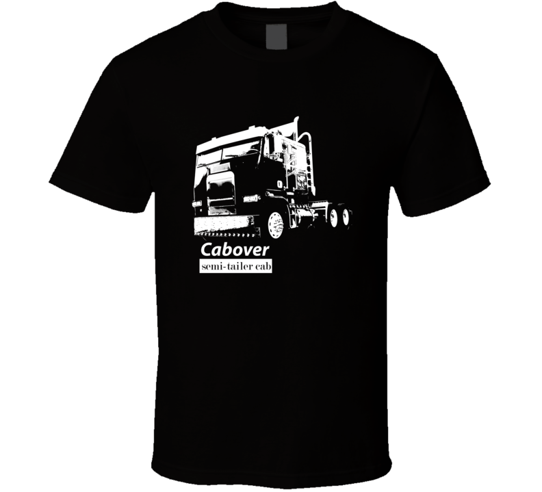 Cabover Semi Trailer Truck Dark Color T Shirt With Model