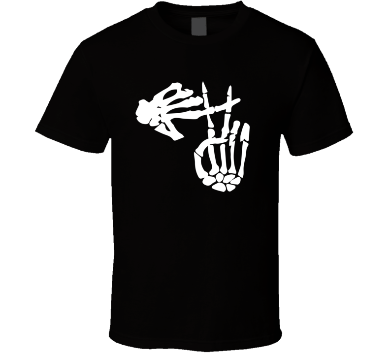 Skeleton Clique Funny Symbolic Hands Black T Shirt