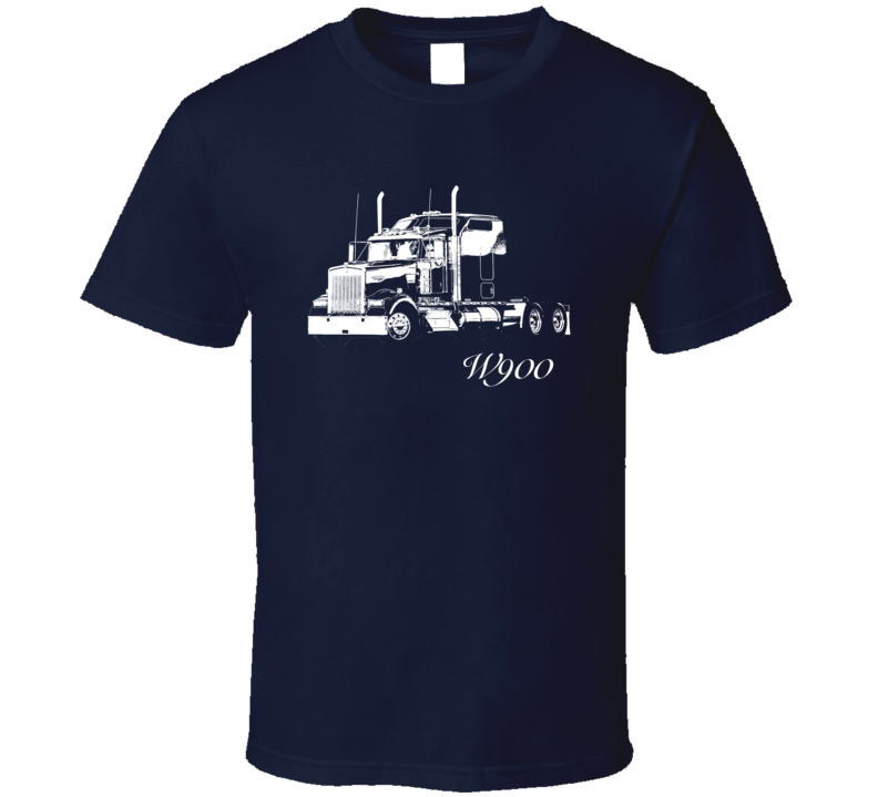 Kenworth W900 Side View With Model Dark Color T Shirt