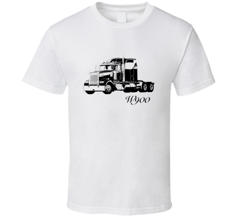 Kenworth W900 Side View With Model Light Color T Shirt