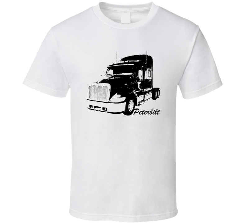 Peterbilt 387 Side View With Make Name Light Color T Shirt