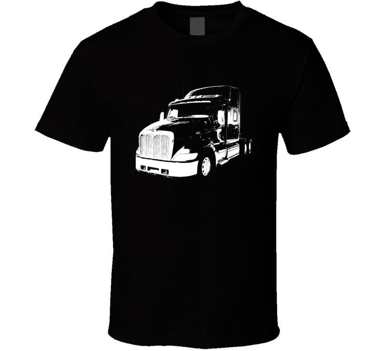 Peterbilt 387 Side View Dark Color Trucker T Shirt