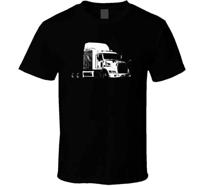 Peterbilt 389 Side View Dark Color Trucker T Shirt
