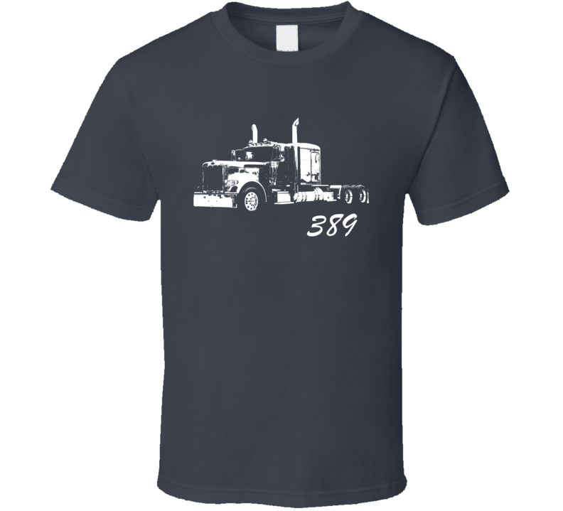 Peterbilt 389 Side View With Model Name Charcoal Trucker T Shirtirt T Shirt