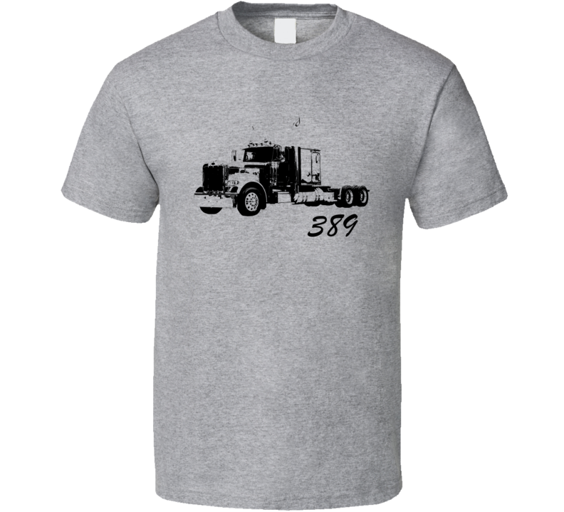 Peterbilt 389 Side View With Model Name Heather Grey Trucker T Shirtirt T Shirt