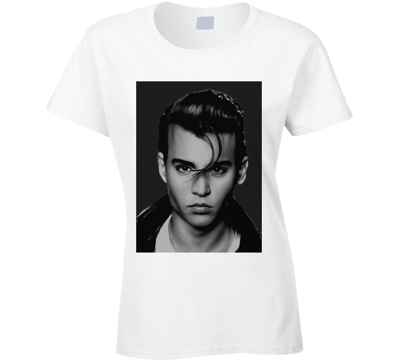 Johnny Depp Face Shot Faded Look White T Shirt
