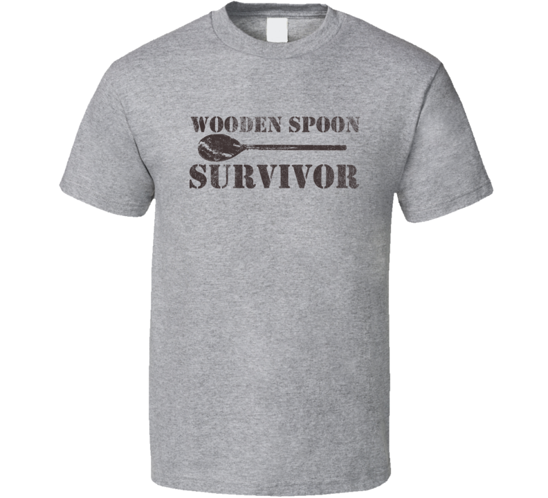 Wooden Spoon Survivor Funny Retro Distressed Look Light Color T Shirt