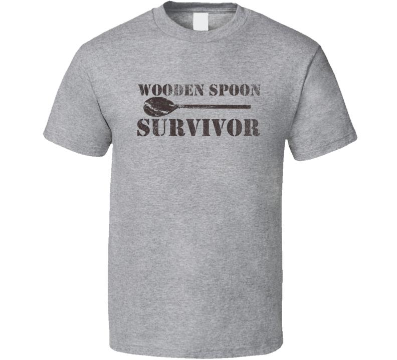 Wooden Spoon Survivor Funny Retro Distressed Look Light Color T Shirt