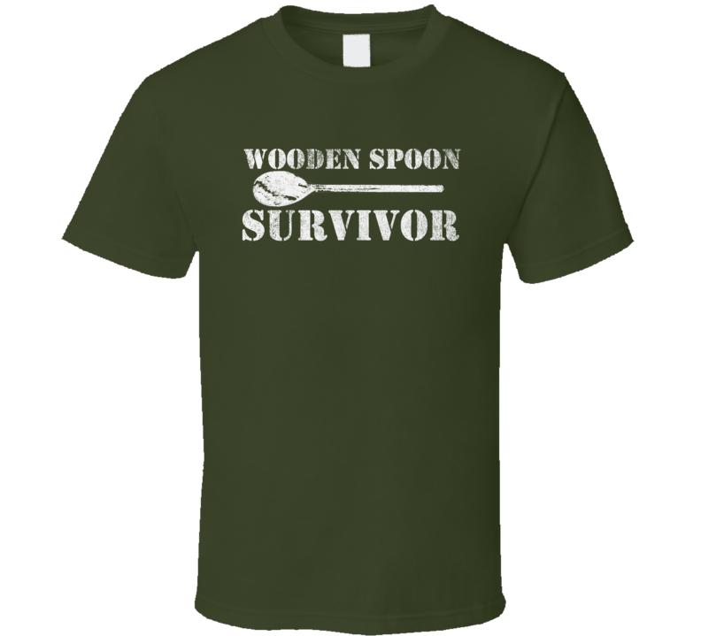 Wooden Spoon Survivor Funny Retro Distressed Dark Color Shirt