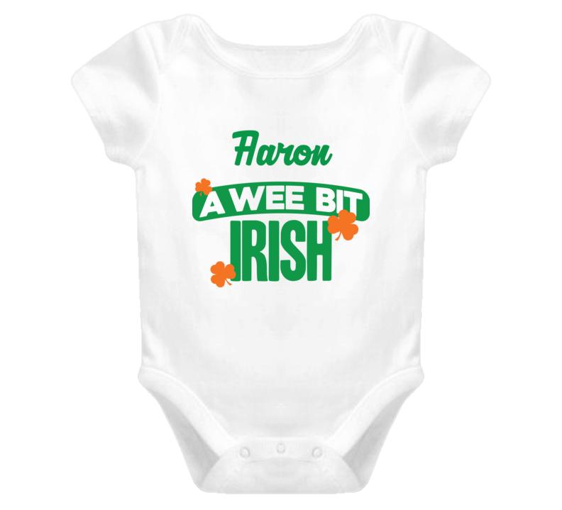 Aaron A Wee Bit Irish Funny St Patricks Day Name T Shirt