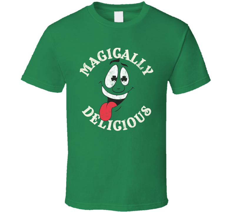 Magically Delicious Funny St. Patrick's Day Shamrock Worn Look T Shirt