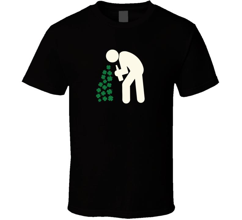 St. Patrick's Day Drunk Throwing Up Shamrocks Funny Irish T Shirt