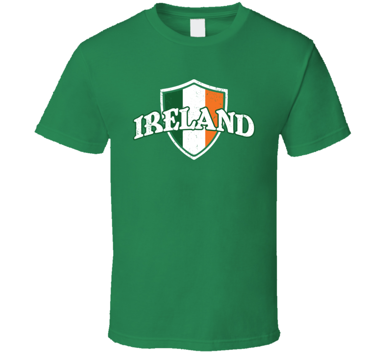 Ireland St. Patrick's Day Proud Irish Flag Shield Worn Look T Shirt