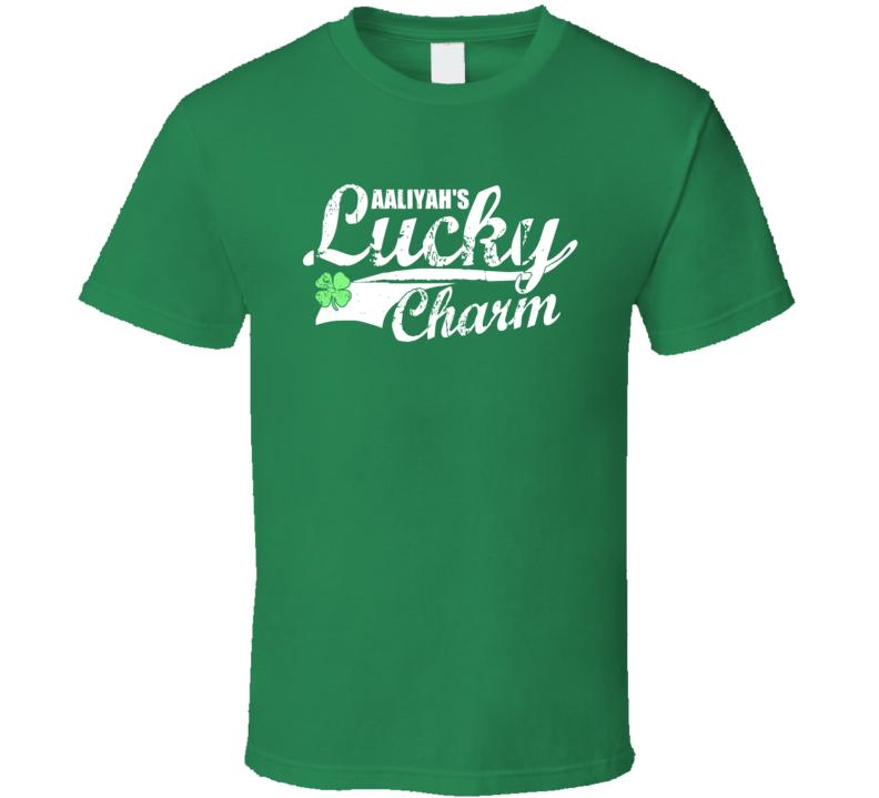 Aaliyah Lucky Charm Irish St Patricks Day Shamrock Custom Name T Shirt