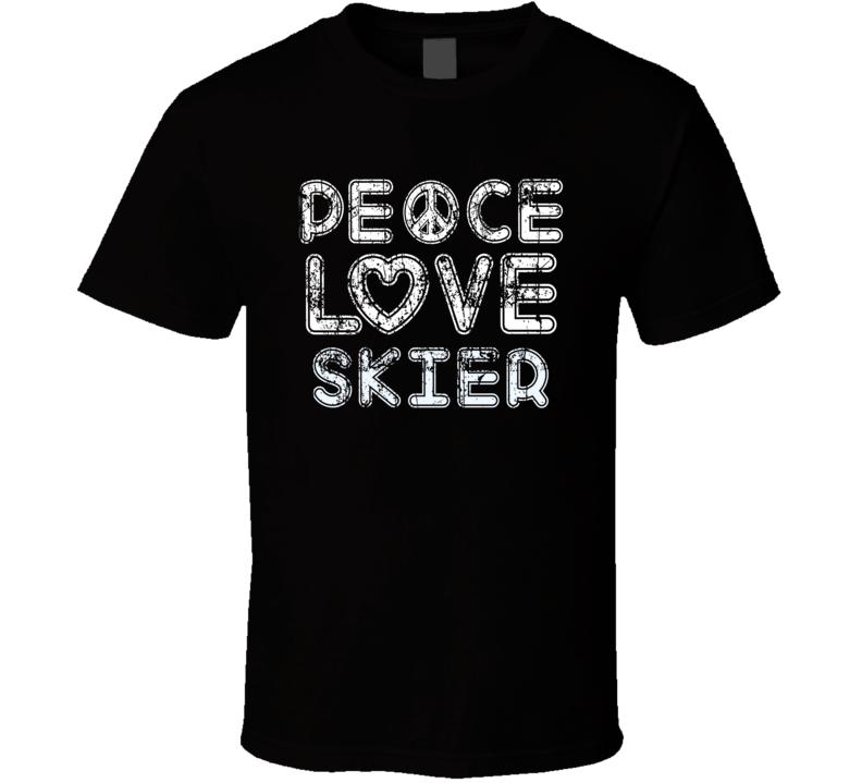 Peace Love Skier Cool Boat Lover Fun Worn Look Summer T Shirt