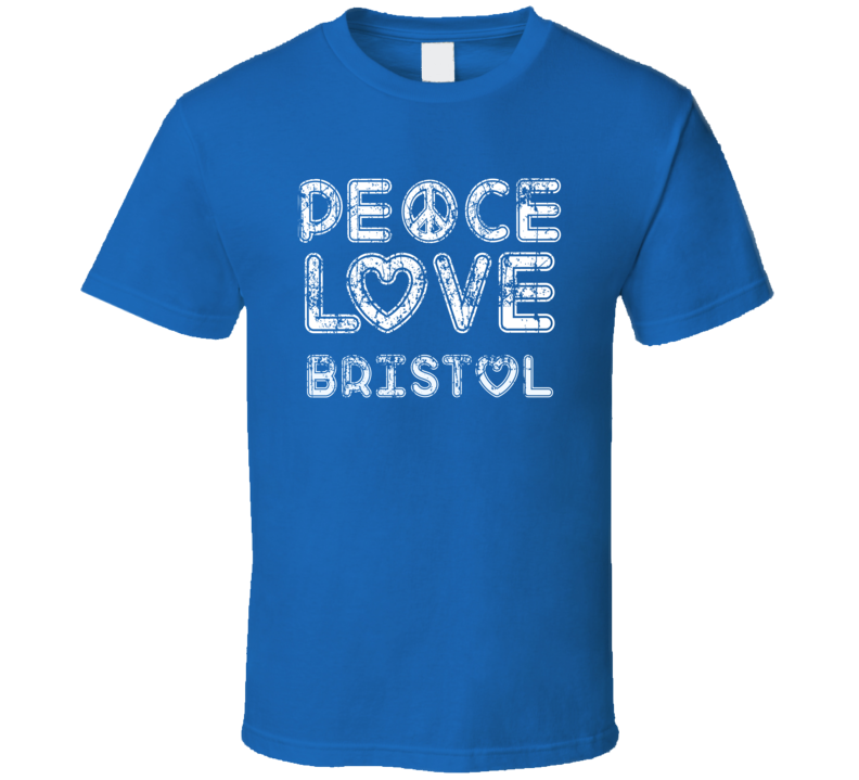 Peace Love Bristol Cool Boat Lover Fun Worn Look Summer T Shirt