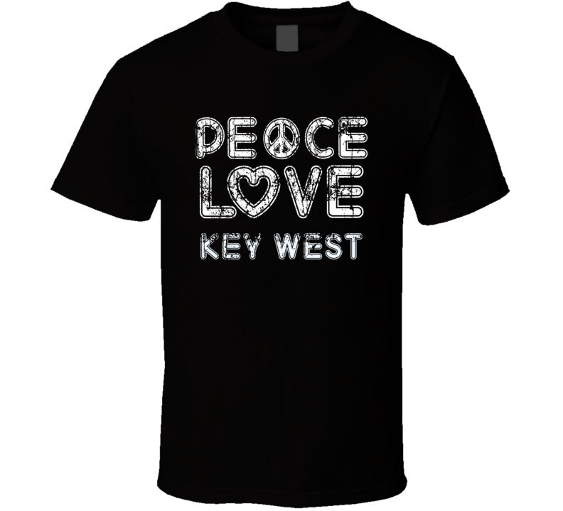 Peace Love Key West Cool Boat Lover Fun Worn Look Summer T Shirt