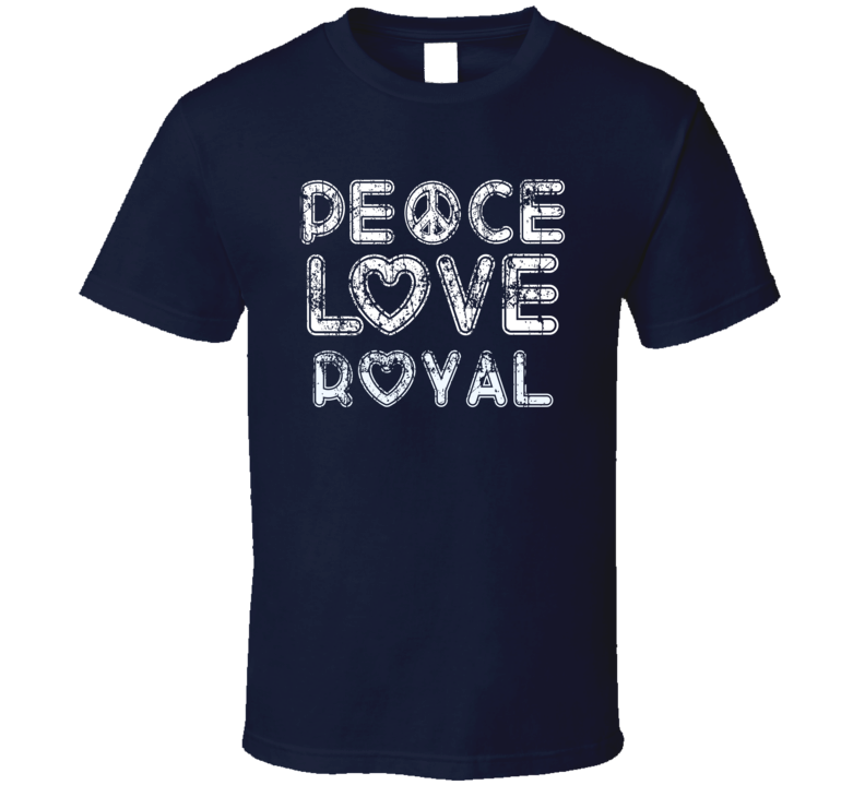 Peace Love Royal Cool Boat Lover Fun Worn Look Summer T Shirt