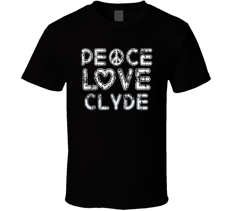 Peace Love Clyde Cool Boat Lover Fun Worn Look Summer T Shirt