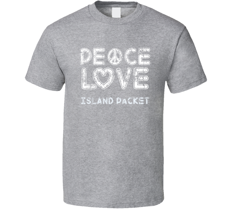 Peace Love Island Packet Cool Boat Lover Fun Worn Look Summer T Shirt