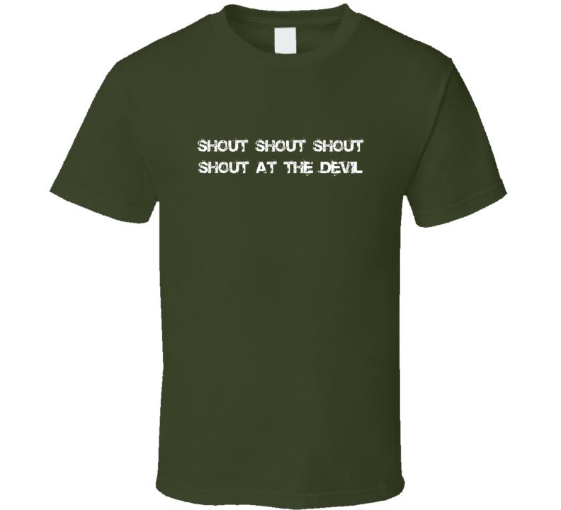 Shout at the Devil Top 80s Hair Metal Band Motley Crue Lyrics T Shirt