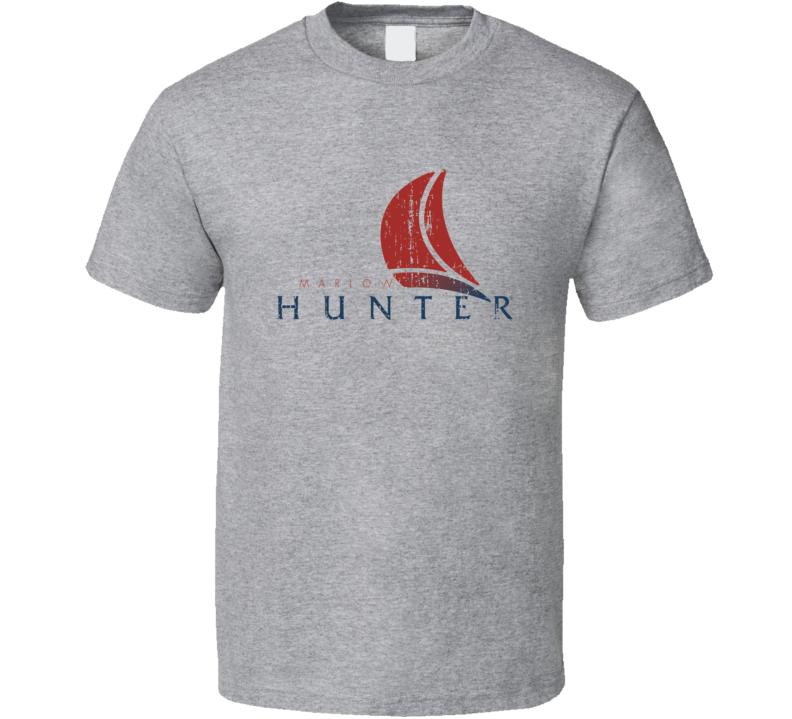 Hunter Boat Brand Marine Fathers Day Worn Look T Shirt