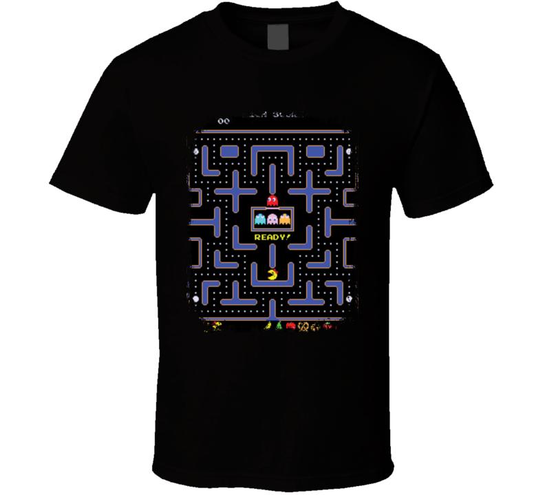 Ms. Pac Man Video Game Retro Throwback Geek Fun T shirt