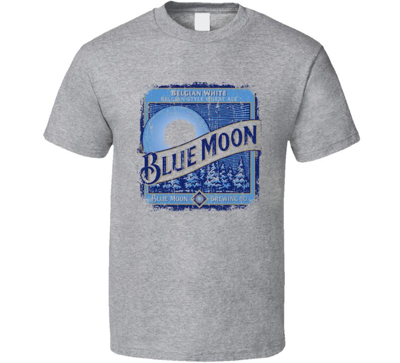 Blue Moon Wheat Ale Belgian Beer Ale Lover Cool Worn Look T Shirt