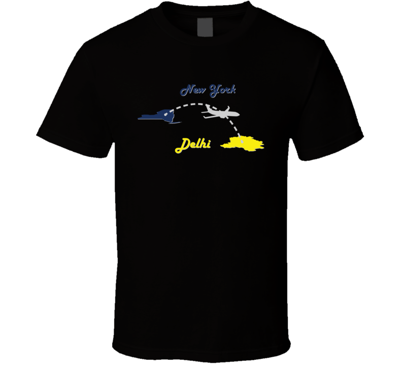New York to Delhi Flight Map Flyer Traveler Fun Popular T Shirt