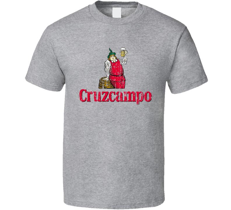 Cruzcampo Spanish Cool Beer Drink Worn Look T Shirt