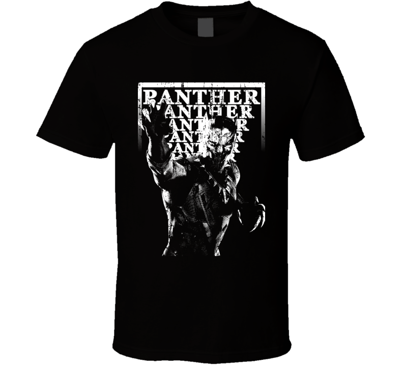 Black Panther Popular Movie Characters Cool Retro Faded Look T Shirt