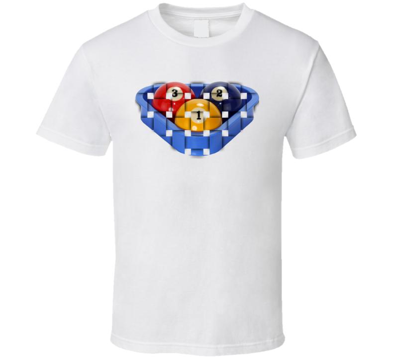 Pool Billiards Player 3 Ball Rack Ripple Cool Gift T Shirt