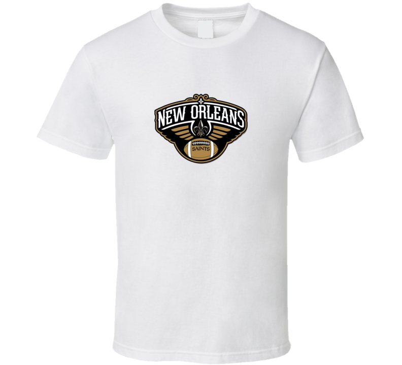 New Orleans Pelicans combined New Orleans Saints Football Logo T Shirt