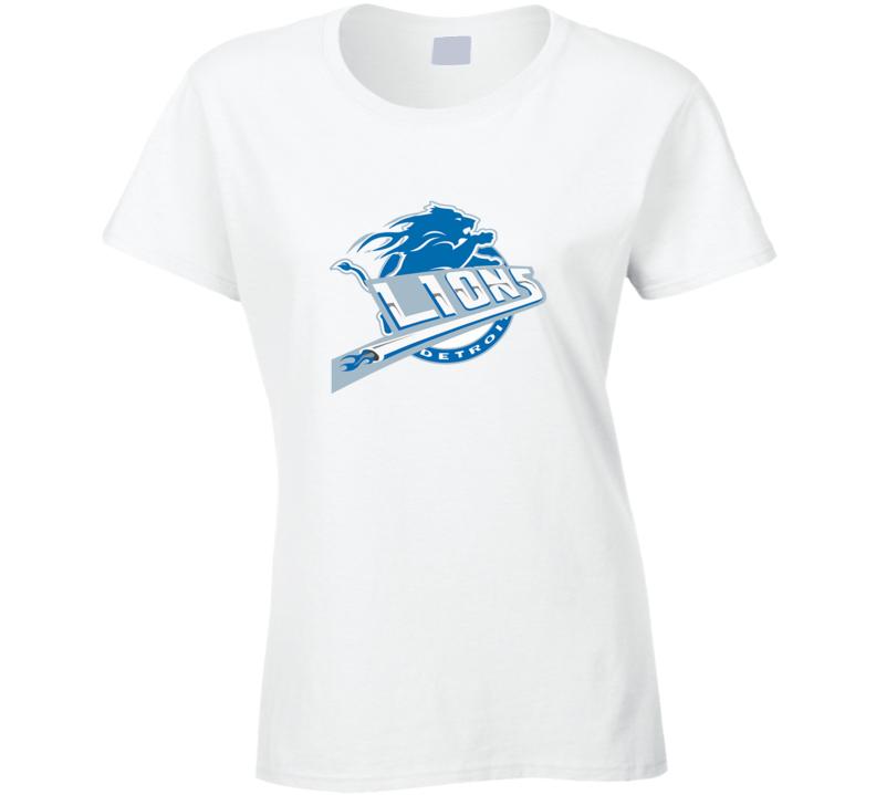 Detroit Lions and Detroit Pistons Combined logo Ladies T Shirt