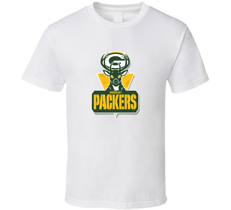 Green Bay Packers Football and Milwaukee Bucks Basketball Combined Logo T Shirt